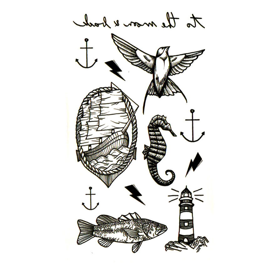 Lighthouse  Waterproof Temporary Tattoo Sticker  Animal Fish Fake Tattoo Body Art The Flash Ship Kids Tatoo Sleeve Tatuajes