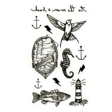 Fake Tattoo Tatoo-Sleeve Temporary-Tattoo-Sticker Tatuajes Body-Art Waterproof Kids Lighthouse