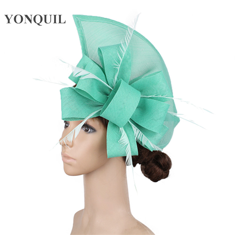 YALOEE Sinamay Hats for Ladies Fashion British Cocktail Dress Dome with Feather Hair Accessories