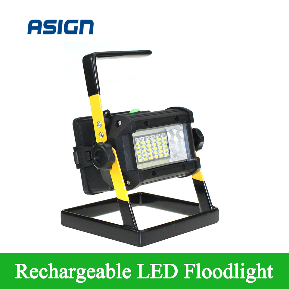 ФОТО Mini Rechargeable  LED Flood Light 36 leds IP65 3Modes LED Floodlight Portable SpotLights Not included 4*18650 Battery