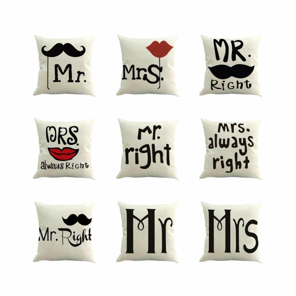 Romantic Letter Printed Pillow Cover Linen Pillow Case Simple Design Throw Wedding Decorative Pillowcase Cushion Accessary