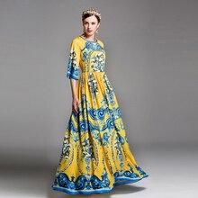 Высокое качество 2017 дизайнер взлетно-посадочной полосы maxi dress женская flare рукавом великолепный цветок цветочный принт винтаж длина пола long dress