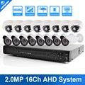 Unitoptek 1080 p ahd ahd camera kit sistema de cctv 16ch 16 canal dvr recorder + ir ao ar livre bala/cúpula 2mp câmera ahd sistema