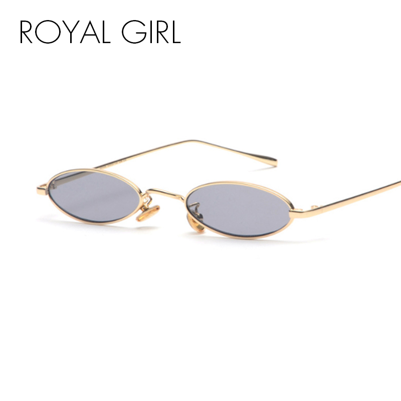 ROYAL GIRL Vintage Small Round Sunglasses Women Men Brand Design Small Oval Metal Frame Ladies Glasses uv400 ss590