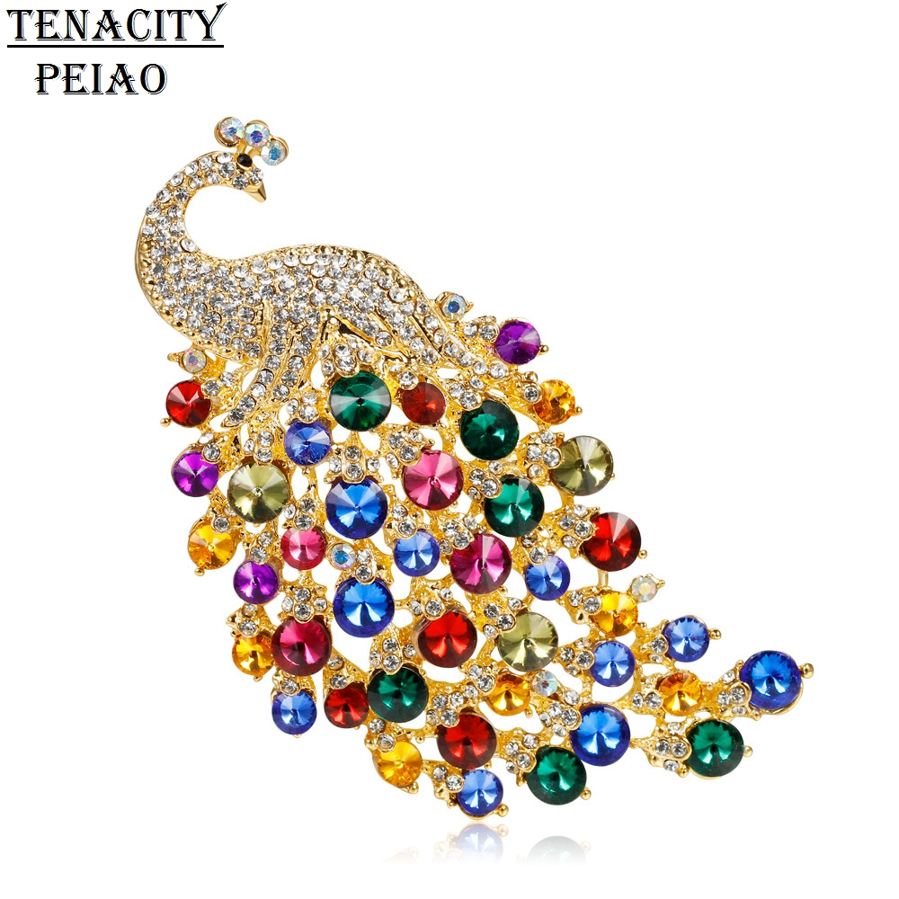 цена на 2018 New Large Size Colorful Crystal Peacock Brooch For Women Hot Jewelry Brooch Pin Accessories Women Clothing Accessories