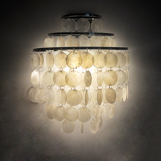 Modern Led Wall Lamp Shell Lampshade Bedroom Lighting Sconce Bedside Mounted Light Fixture