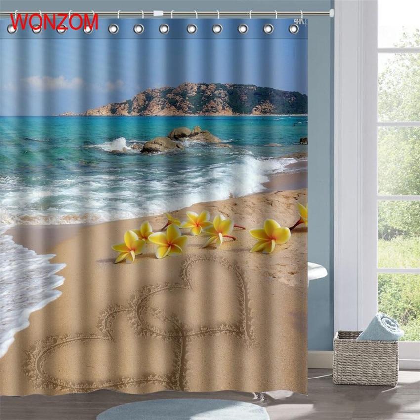 WONZOM Wave Beach Waterproof Shower Curtain Serenity Bathroom Decor Landscape Decoration Cortina De Bano 2017 Bath Curtain Gift