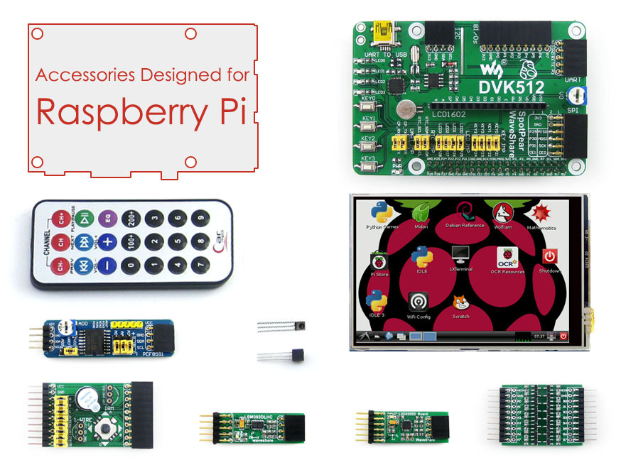 Accessories Pack for Raspberry Pi 3 Model B/2 B/B+/A+ + 3.5inch RPi LCD Screen + DVK512 Expansion Development Board+Module Kits dual mc33886 motor driver board dc 5v 2a for smart car raspberry pi a b 2b 3b