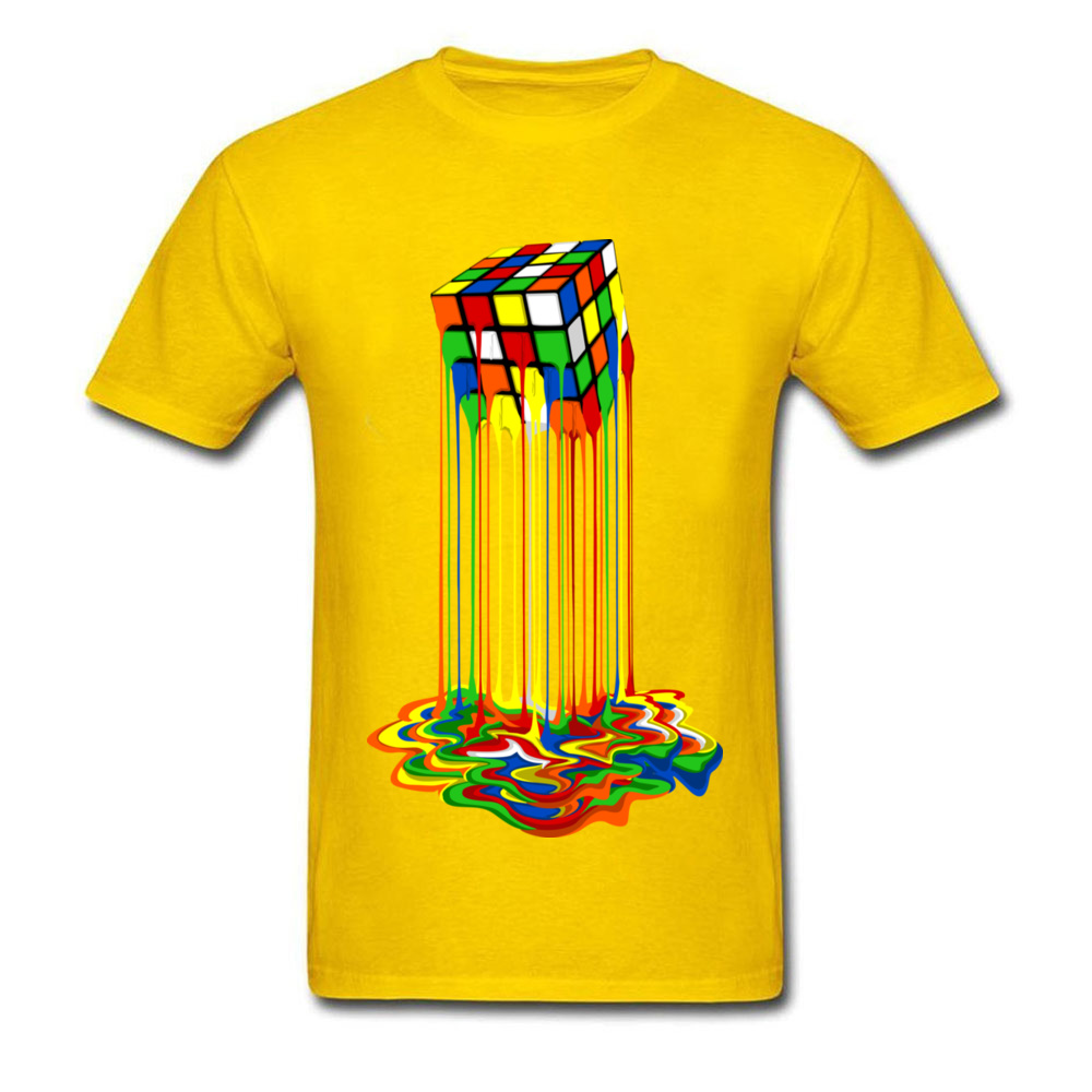 Rainbow Abstraction melted rubix cube_yellow