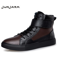 JUNJARM 100 Genuine Leather Men Boots Winter Warm Velvet Ankle Snow Boots Men Shoes Fashion Cow