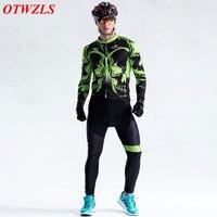 2017 Long cycling jersey set men black and green cycling clothing Long sleeve jersey and pants Mountain bike clothing sportswear