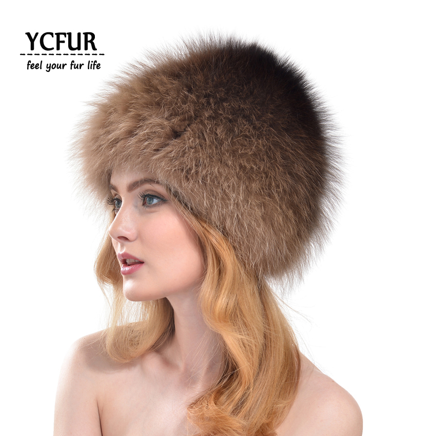 ФОТО New Brand Women Fur Hats Winter Knit Natural Fox Fur Skullies Beanies Winter Real Fox Fur Caps Women YH171-1