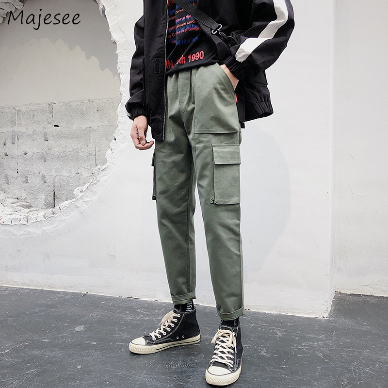 Men's Clothing Cargo Pants Symbol Of The Brand Pants Men Harajuku Ankle-length Simple All-match Korean Style Leisure Daily Trendy Hip Hop Trousers Mens Pockets Cargo Pant New