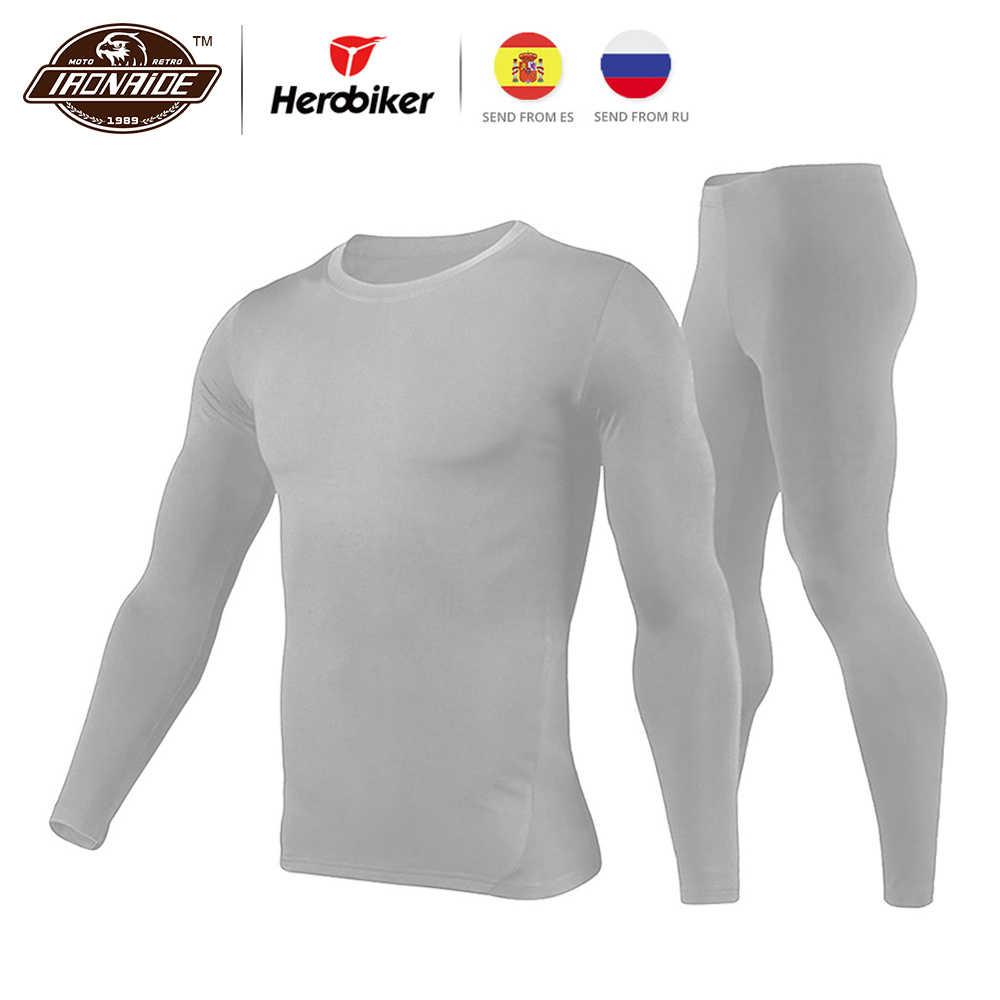 Herobiker Männer t shirt Femme Fleece Gefüttert Thermische Unterwäsche Set Motorrad Winter Warme Lange Unterhosen Shirts & Tops Bottom Anzug