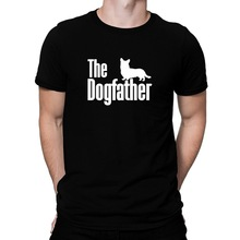 Fashion 2017 New Men's The dogfather Cardigan Welsh Corgi Short Sleeve Tee Shirts high quality novelty design tops