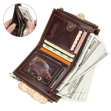 Genuine Leather Wallet Men Coin Purse Wallet Card Holder   Double Zip Money Bag With Chain RFID