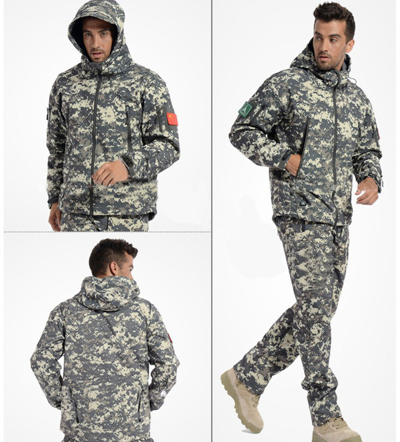 Cheap Tactical Gear Shark Skin Softshell Outdoor Jacket Military Pants Men Waterproof Army Camouflage Hoody free
