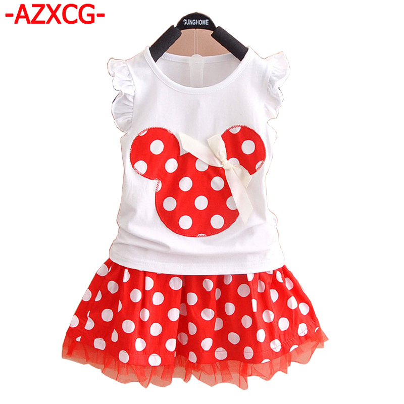 New Girls Minnie Clothes Set Kids Cotton Mickey Polka Dot Clothing Sets Baby Fashion Children Short 2Pcs Summer Suit Dress Set