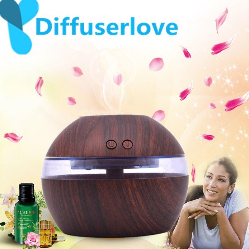 Diffuserlove 300ml Ultrasonic Air Humidifier USB Essential Oil Diffuser 7 Color Change Light Car Purifier Aroma Anion Mist Maker