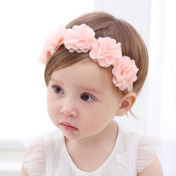 Baby Flower Headband Pink Ribbon Hair Bands Handmade Diy Headwear Hair Accessories For Baby Girl Children Newborn