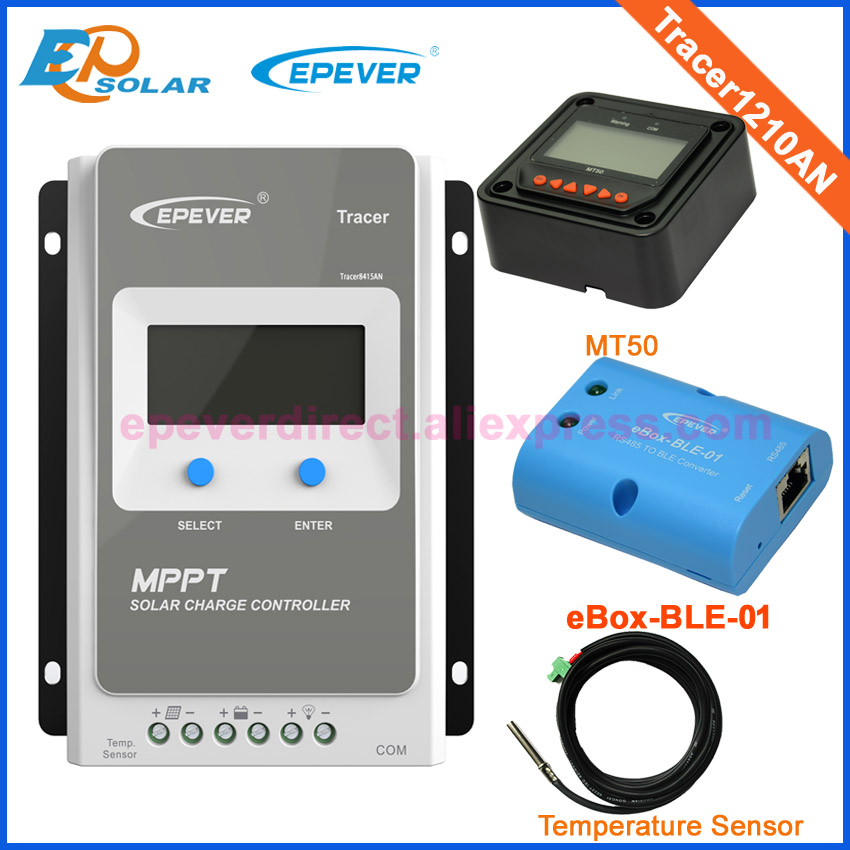 EPsolar MPPT solar controller with MT50 temperature sensor and BLE function Tracer1210AN 10A 12V/24V auto work mppt solar charge controller 10a 12v 24v auto work tracer1210an with white mt50 remote meter epsolar