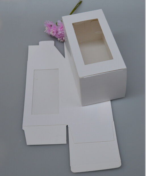 New 8*8*16cm White Paper Box With Window Gift Craft Bakery Cookies Candy