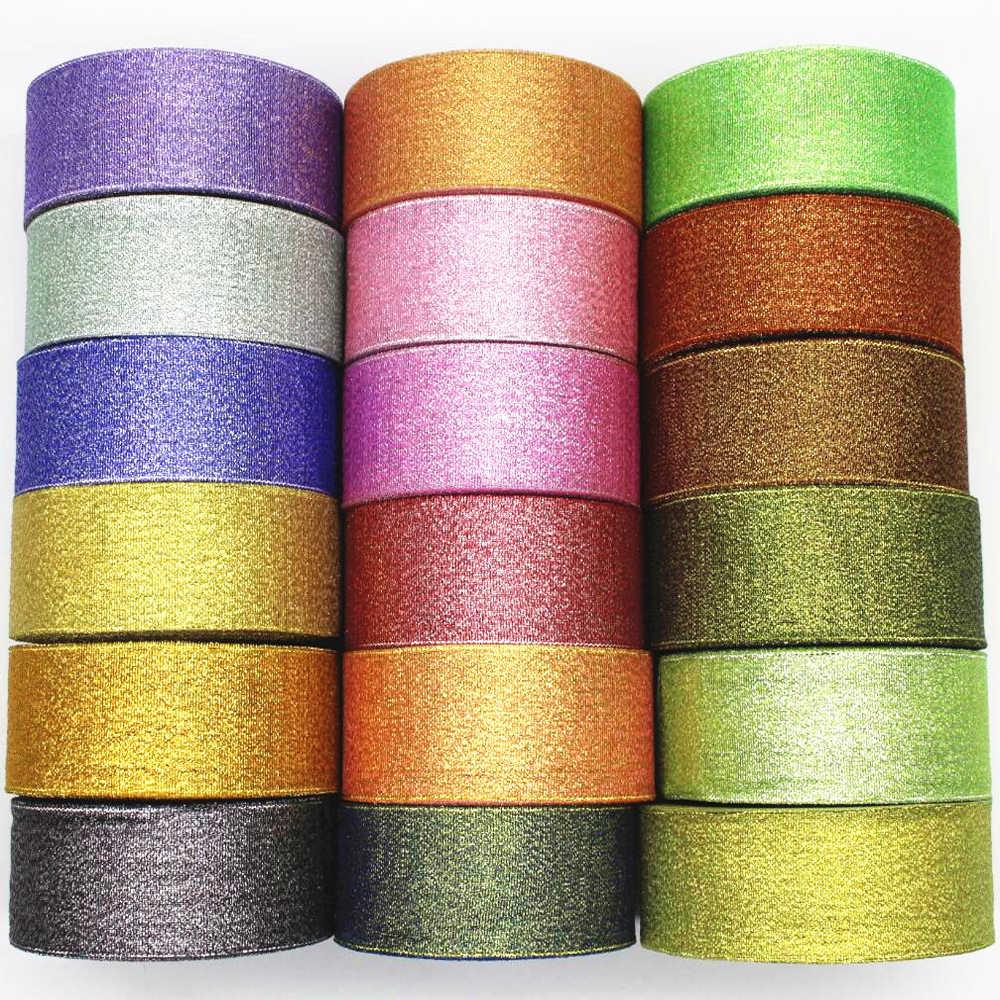 6 10 15 20 25 38mm nuevo oro plata cinta Organza 25 yardas DIY materiales hechos a mano regalo envoltura Navidad Año Nuevo decoraciones