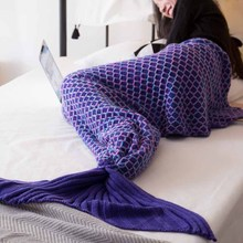 Mermaid Blanket For Kid Adult Baby Knitting Wearable Yarn Dyed Throw Portable for Sofa Beach Sleeping Europe Blanket on Spring hollow out color block crochet knitting mermaid blanket for kid