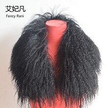 75cm Echtpelz Kragen Frauen Lange Wolle Pelz 2018 Neue Mode Schwarz Grün Strand Wolle Pelz Kragen Pelz Kragen für Unten Jacken 5 farben