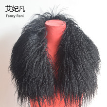 75cm Real Fur Collar Women Long Wool Fur 2018 New Fashion Black Green Beach Wool Fur Collar Fur Collar for Down Jackets 5 colors