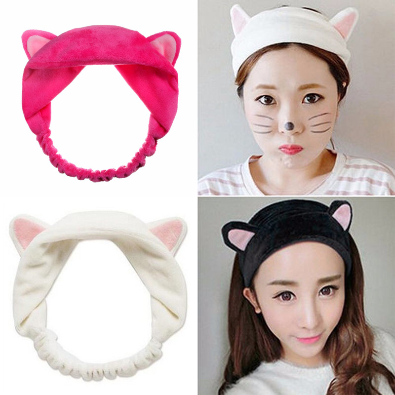 2Pcs Girls Female Spa Bathing Shower Make Up Wash Face Cosmetic Elastic Headband Hair Bands Elastic Turban Headbands Hairbands