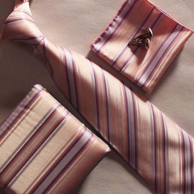1 CONJUNTO rosa moda gravata conjuntos laço elegante com quadrados de bolso botão de punho na caixa