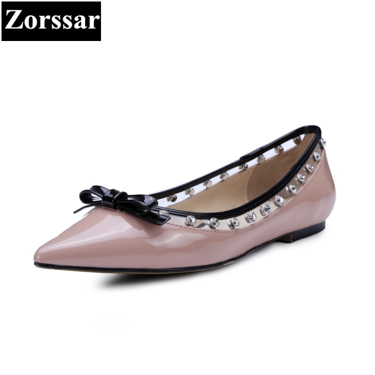 {Zorssar} 2018 NEW Fashion Women Shoes Woman Flats high quality patent leather Casual Comfortable Women Flat pointed toe Shoes new listing pointed toe women flats high quality soft leather ladies fashion fashionable comfortable bowknot flat shoes woman