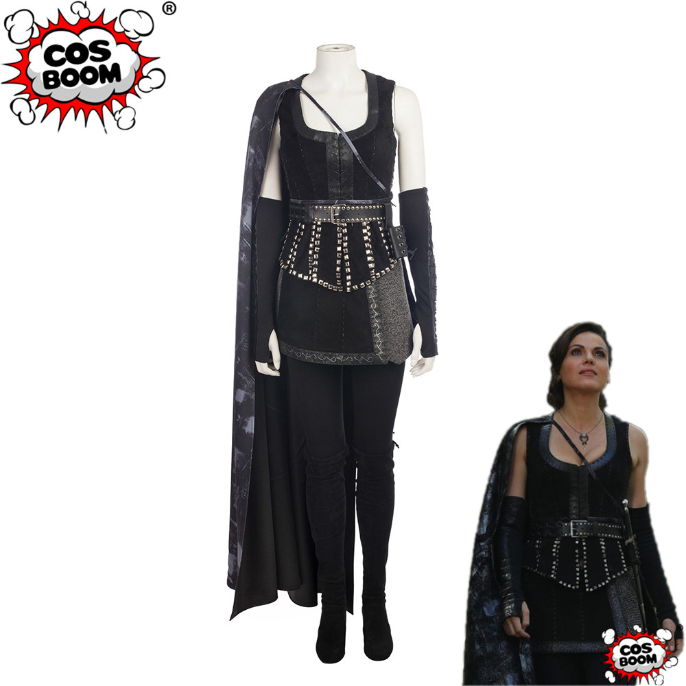 COSBOOM Once Upon a Time Regina Mills Costume Adult Women Halloween Carnival Evil Witch Queen Cosplay Costume