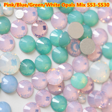 ss3 - ss30 Mix Sizes White Opal Non Hotfix Rhinestones FlatBack Glass Nail Rhinestones Crystal Loose Strass for Nail Decoration mix sizes opal colors crystal glass non hotfix flatback rhinestones strass nail art nails accessoires nail art decoration