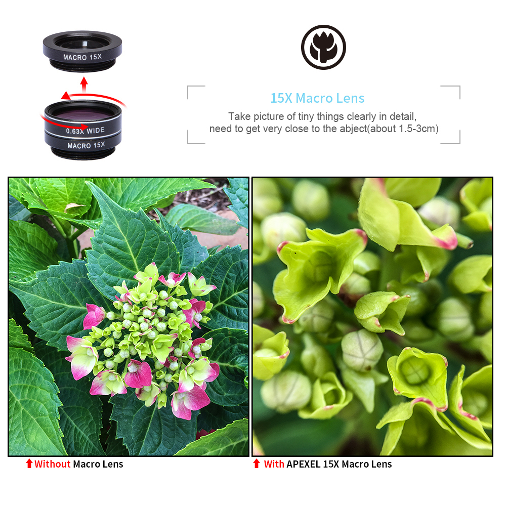 APEXEL 7 in 1 Phone Camera Lens Kit Fish Eye Wide Angle/macro Lens CPL Kaleidoscope and 2X telephoto zoom Lens for iPhone5/6s/7 7
