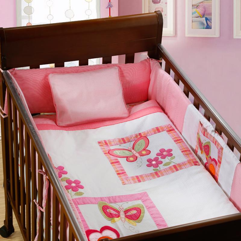 unids bordado rosa algodn beb hoja de cama ropa de cama cuna juego