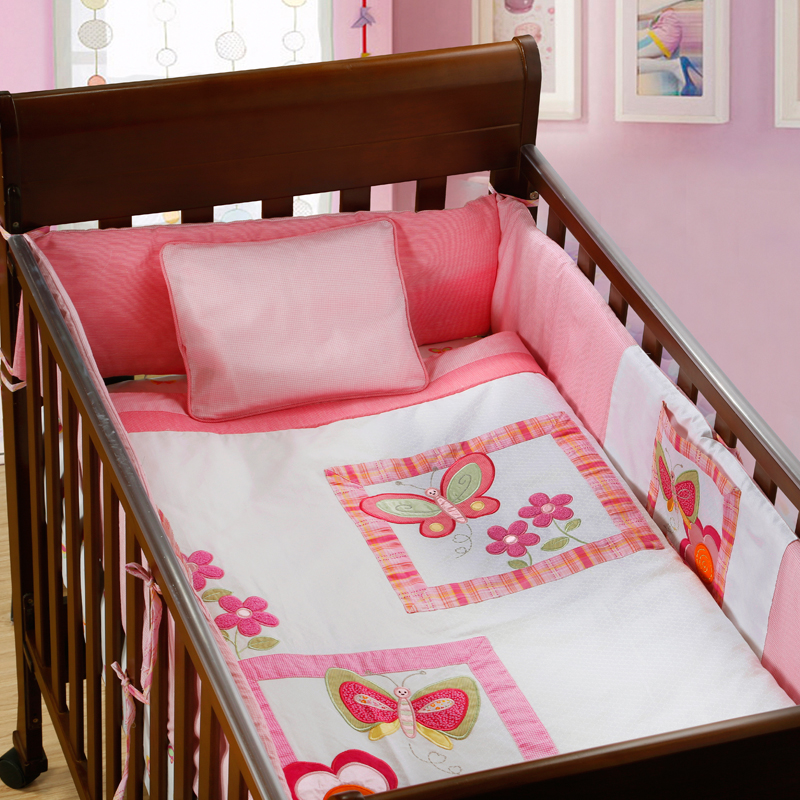 7PCS Embroidery Pink 100% Cotton Baby Bedding SHeet Cot Bedding Set Baby Crib Set Cartoon ,include(bumper+duvet+sheet+pillow)