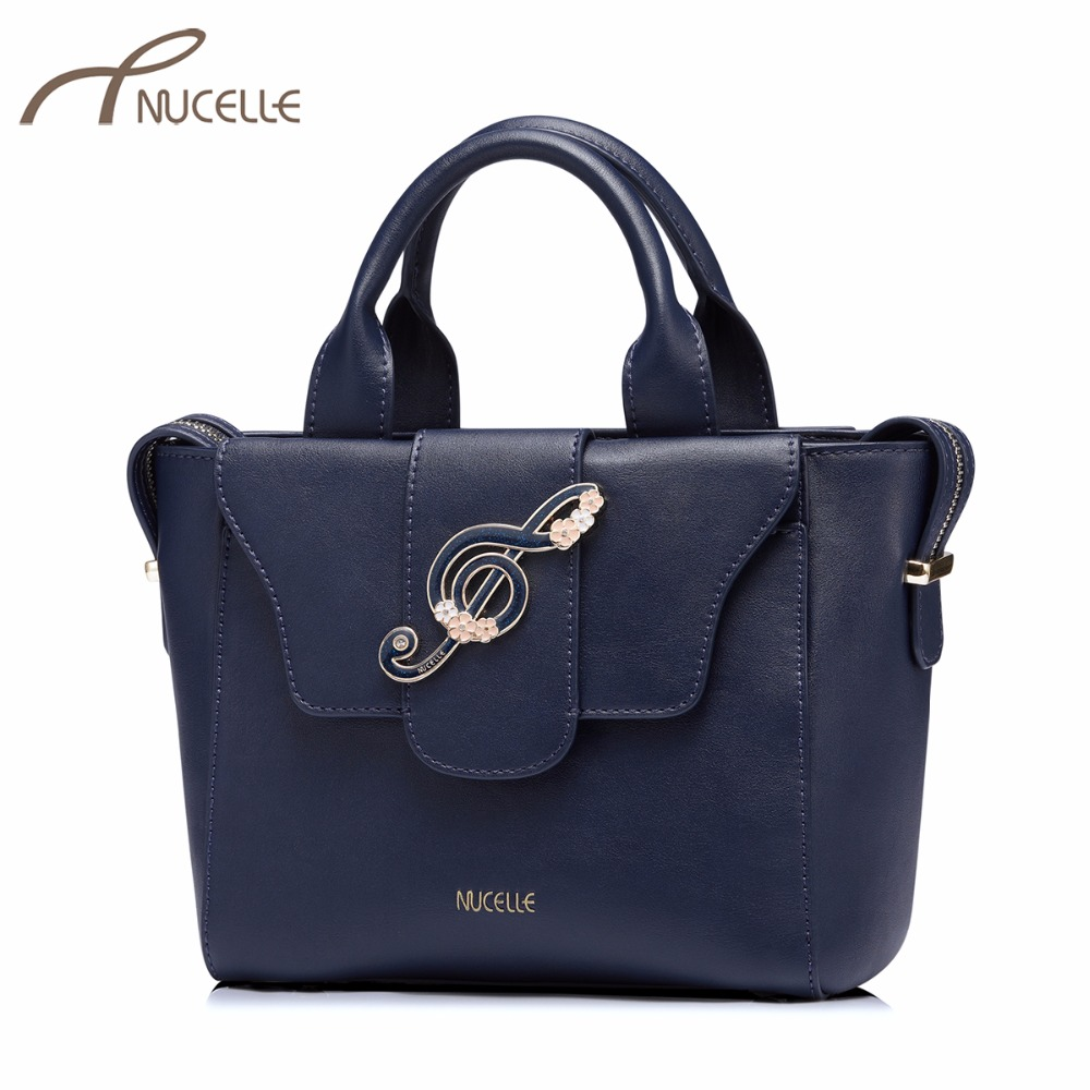 NUCELLE Women's PU Leather Handbags Ladies Fashion Musical Notes Corssbody Tote Purse Female Elegant Brief Flower Messenger Bags