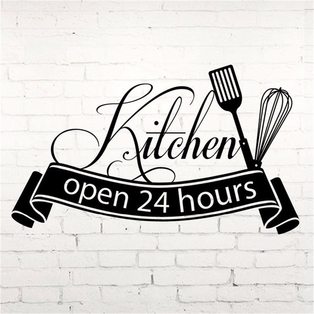 Hot Sale Cuisine <font><b>Wall</b></font> <font><b>Sticker</b></font> Open 24 Hours Kitchen Cut Vinyl Decal Home Decor kitchen <font><b>Wall</b></font> Tile <font><b>Sticker</b></font> Fashion Art Decals