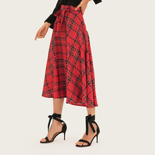 AcFirst Summer Red Women Fashion Sexy Skirt High Waist Mid-calf Plaid Printed Long Skirts Office A-Line Sashes