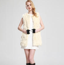 Free Shipping New style Fashion Winter New Style Women's Patched Rex Rabbit Long Vest Real Fur Coats Fur Garment