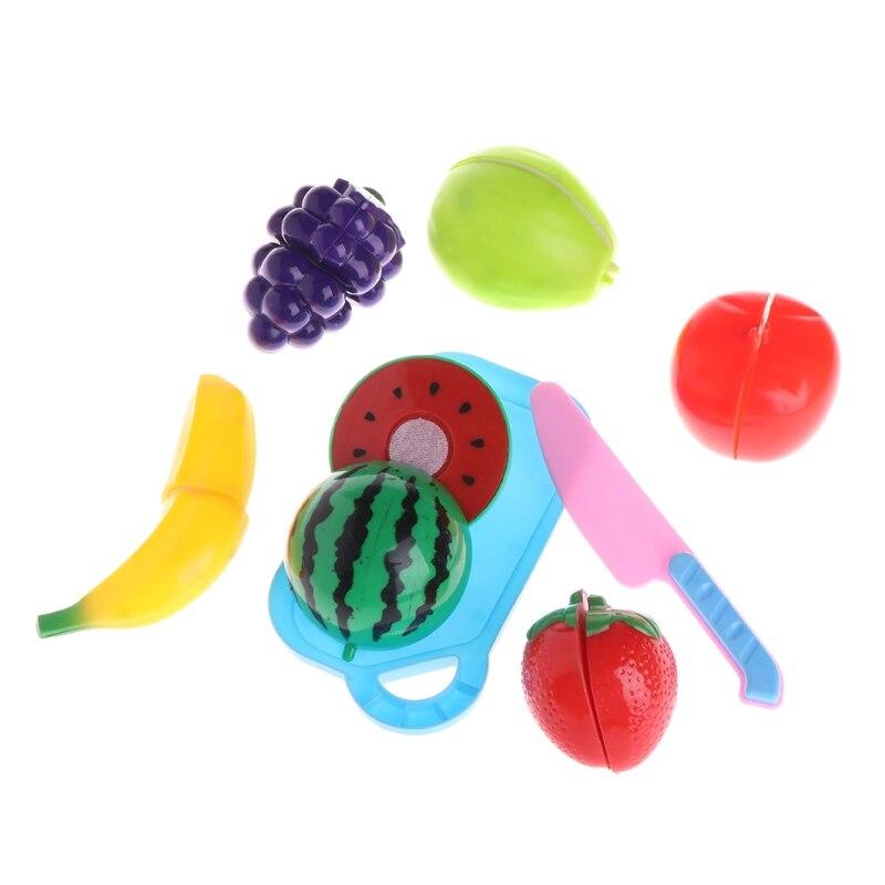 8Pcs Plastic Kitchen Fruit Cutting Pretend Role Play Children Kids Toy Set Gift