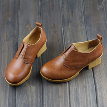 Woman Genuine leather Flat Shoes Brown/khaki female Slip on Loafers Round toe Rubber Sole Vintage Mori Girl Style
