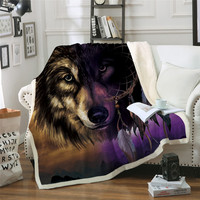 Wolf With Dreamcatcher Sherpa Throw Blanket 3D Mountains Scenery Bedspread Purple Brown Plush Blanket 150x200cm