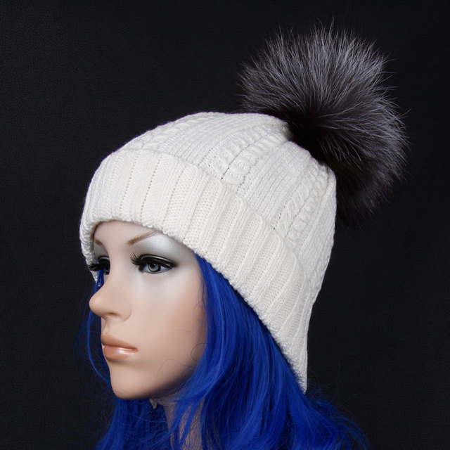 Free shipping, 2014 Winter Brand New Colorful Snow Caps Wool Knitted Beanie Hat With Raccoon Fur Pom Poms For Women Skullies Cap
