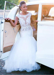 Image 3 - Delicate Tulle Natural Waistline Mermaid Wedding Dress With Lace Appliques Beading Sash See Through Bridal Dresses