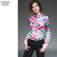 New 2017 Spring And Winter Blouses New European Fashion Stamp Lapel Long Sleeved Shirt Slim Shirt