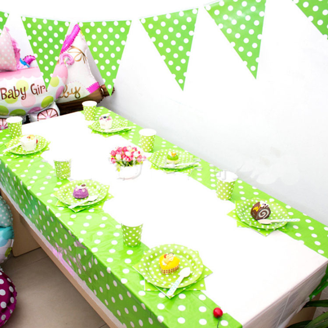 Big Sale Cheap Colorful Polka Dot Plastic Table Cloth Baby Shower