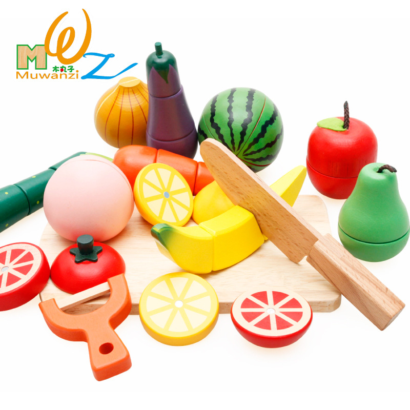 MWZ Magnetic Wooden Cutting Vegetables and Fruits Educational Simulation Food Pretend Play Set Baby Kitchen Toys for Children free shipping baby toys picnic basket food set wooden play food set pretend play kitchen toys gift